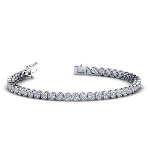 Diamond Bracelet Round Solid 3 Carats White Gold